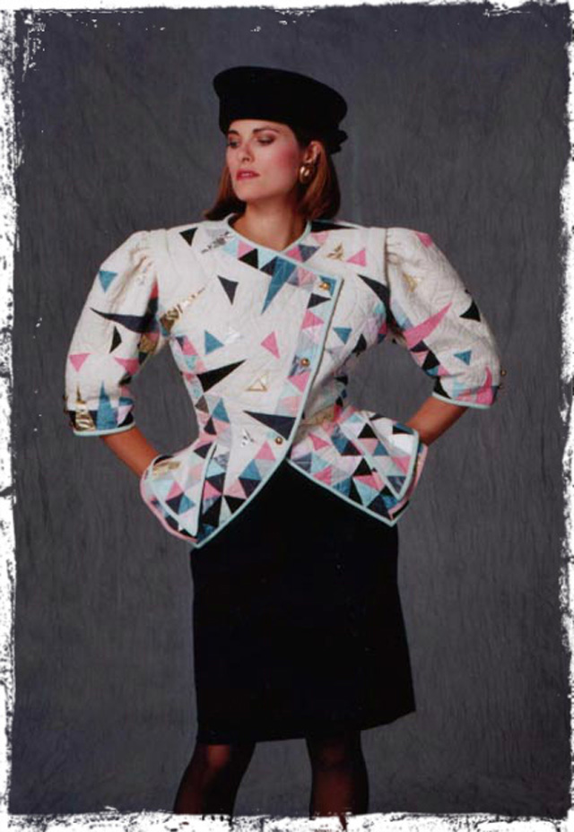 Classic 80's: graphic prints and bold, in-your-face shoulders.