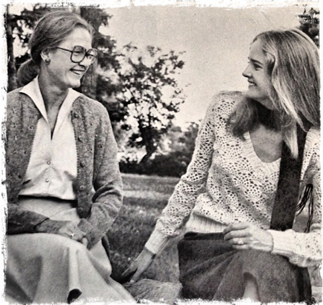 Biddy and Annie Hurlbut on Canaan Farm in the '70s.