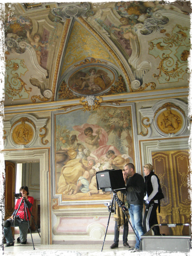 Shooting amidst the grandeur of Italian frescoes.