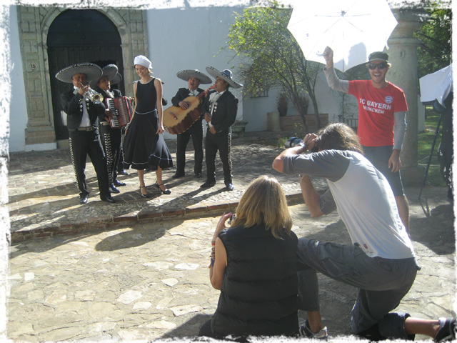 Mariachis serenading our model in Oaxaca, Mexico.