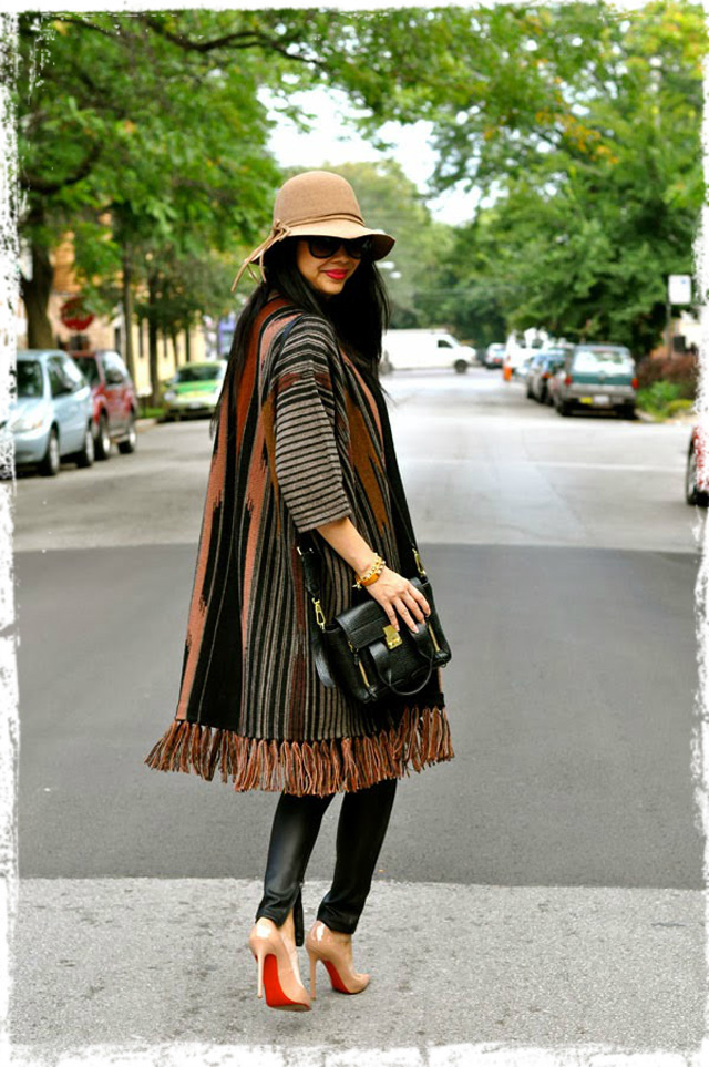 Jen of Red Soles & Red Wine, in PC's Bedouin Knit Coat.