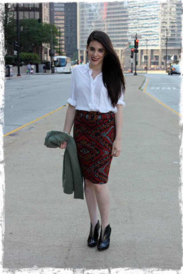 "Jill of ""Jess & Jill"" in our Macedonia Pencil Skirt."