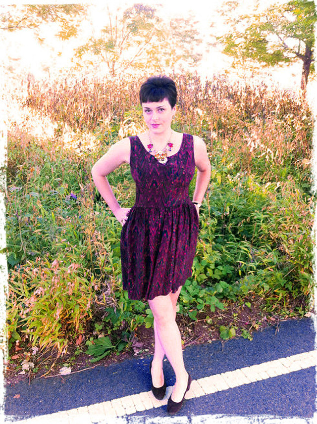 "Kacy of ""The Height of Style"" in PC's Lucia Silk Pinafore."