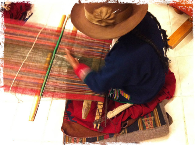 Handweaving a manta at CTTC in Cusco, Peru