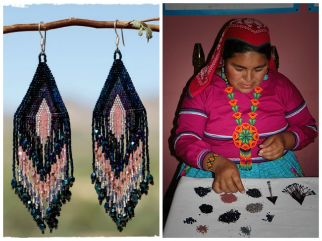 An artisan creates a pair of Beaded Fringe Earrings