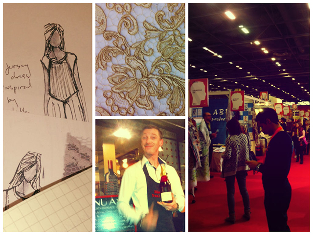 Gathering inspiration at Première Vision: design sketches, antique lace, the convention hall, and a much needed glass of wine!
