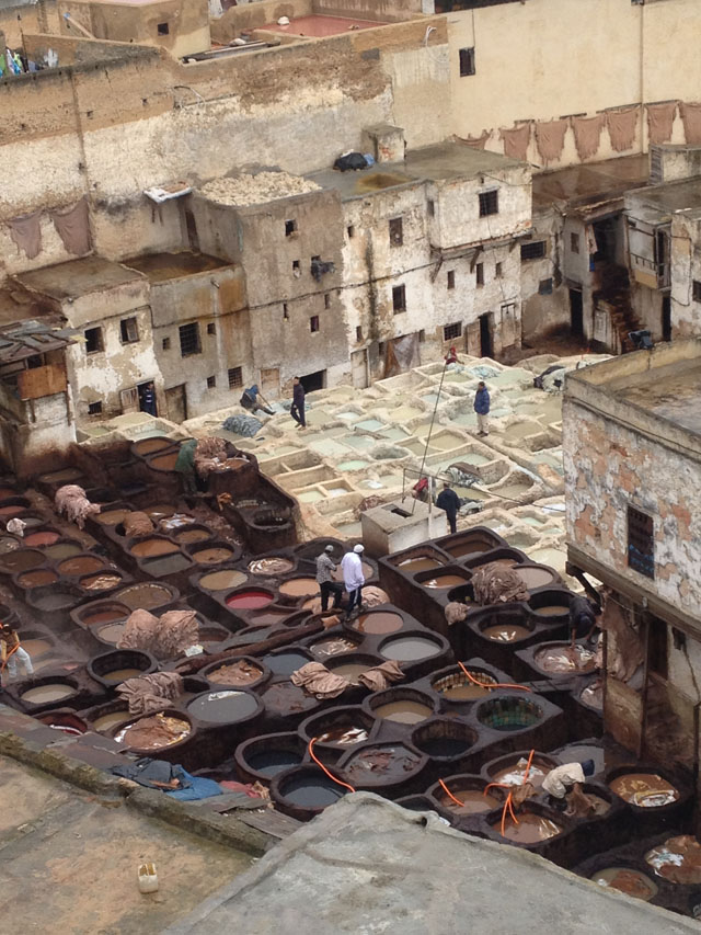 Pigments in Fez, Morocco (photo by Brandon Mably, Kaffe Fassett Studio)