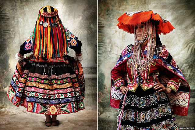 An Andean woman in traditional dress. Photo from Mario Testino's  Alta Moda exhibit